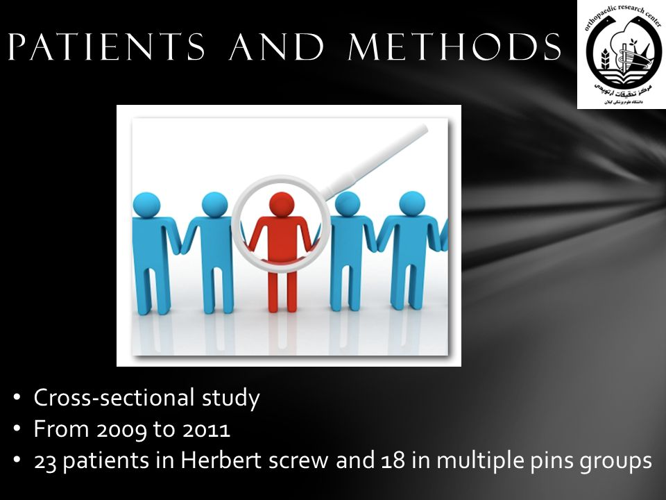 Patients and methods Cross-sectional study From 2009 to 2011 23 patients in Herbert screw and 18 in multiple pins groups