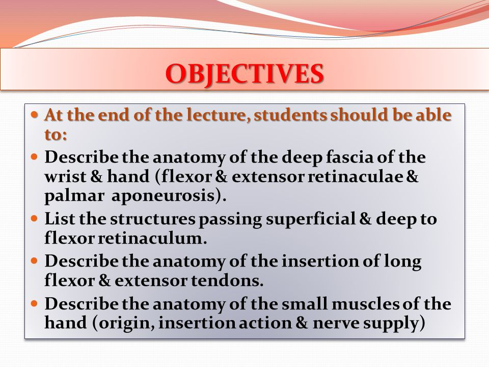 OBJECTIVESOBJECTIVES At the end of the lecture, students should be able to: At the end of the lecture, students should be able to: Describe the anatom