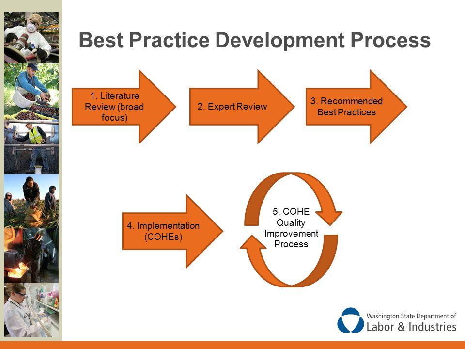 Best Practice Development Process 1. Literature Review (broad focus) 2.