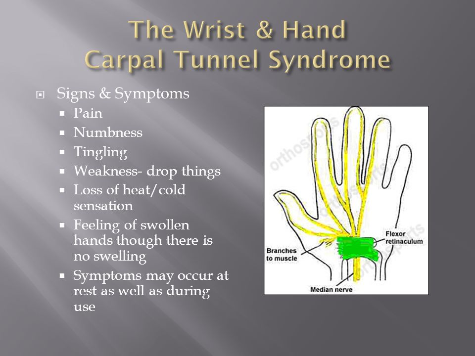  Signs & Symptoms  Pain  Numbness  Tingling  Weakness- drop things  Loss of heat/cold sensation  Feeling of swollen hands though there is no swelling  Symptoms may occur at rest as well as during use