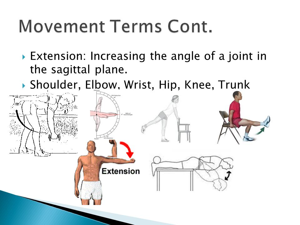  Extension: Increasing the angle of a joint in the sagittal plane.