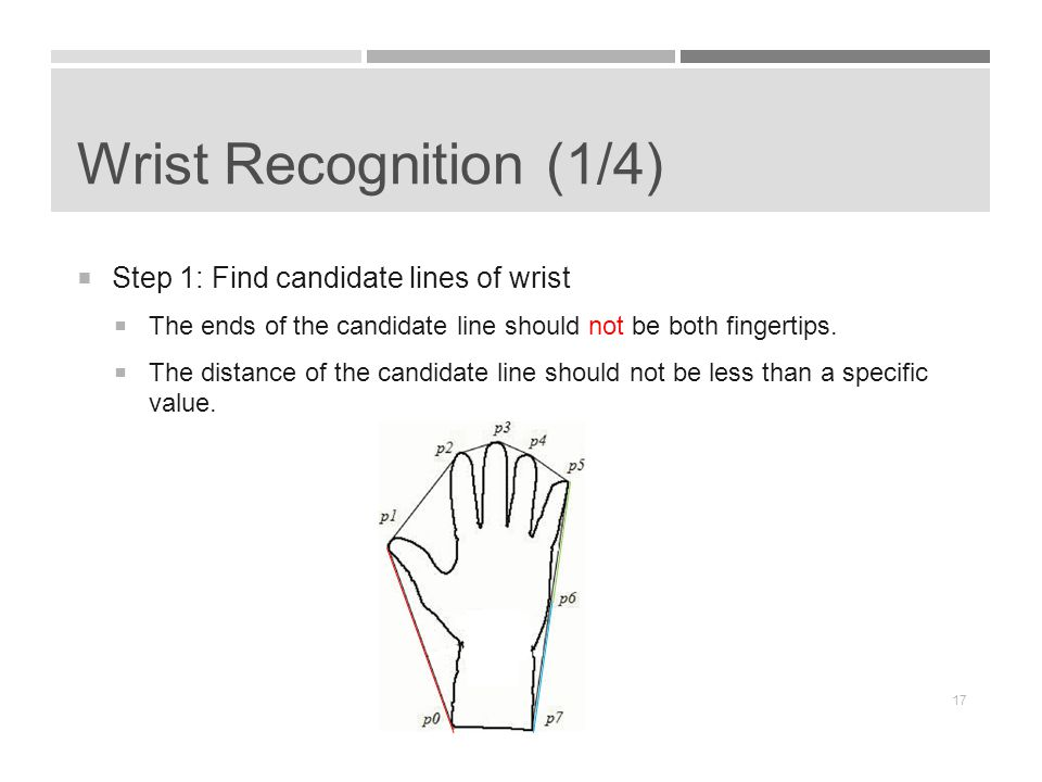 Wrist Recognition (1/4)  Step 1: Find candidate lines of wrist  The ends of the candidate line should not be both fingertips.