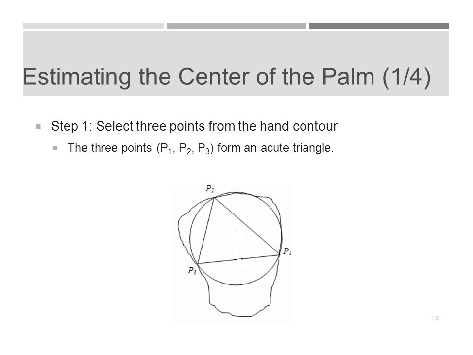 Estimating the Center of the Palm (1/4)  Step 1: Select three points from the hand contour  The three points (P 1, P 2, P 3 ) form an acute triangle.