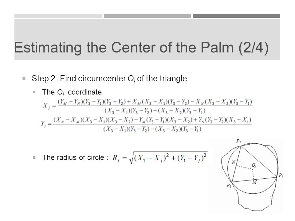 Estimating the Center of the Palm (2/4)  Step 2: Find circumcenter O j of the triangle  The O j coordinate  The radius of circle : 23