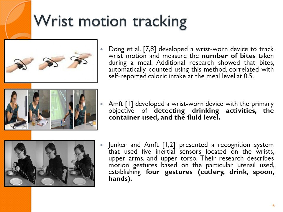 Wrist motion tracking Dong et al. [7,8] developed a wrist-worn device to track wrist motion and measure the number of bites taken during a meal. Addit