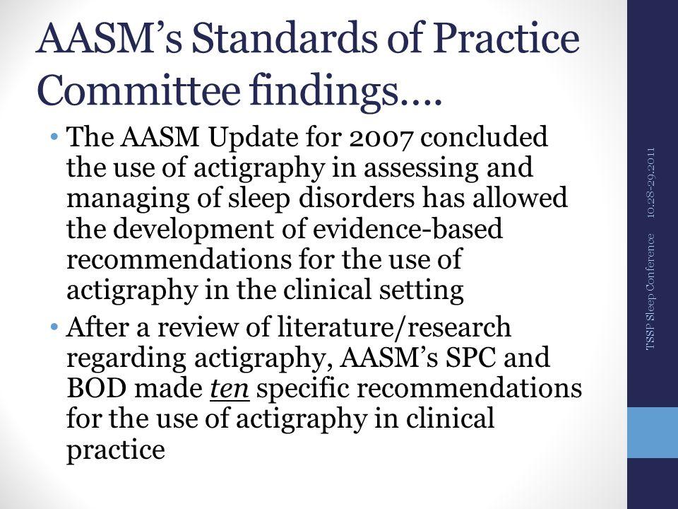 AASM's Standards of Practice Committee findings….