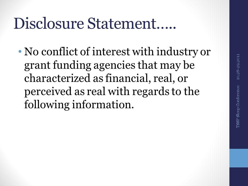 Disclosure Statement…..