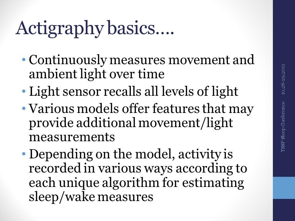 Actigraphy watches 10.28-29.2011 TSSP Sleep Conference