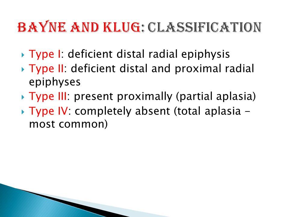  Type I: deficient distal radial epiphysis  Type II: deficient distal and proximal radial epiphyses  Type III: present proximally (partial aplasia)