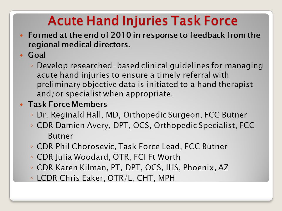 Acute Hand Injuries Task Force Formed at the end of 2010 in response to feedback from the regional medical directors.