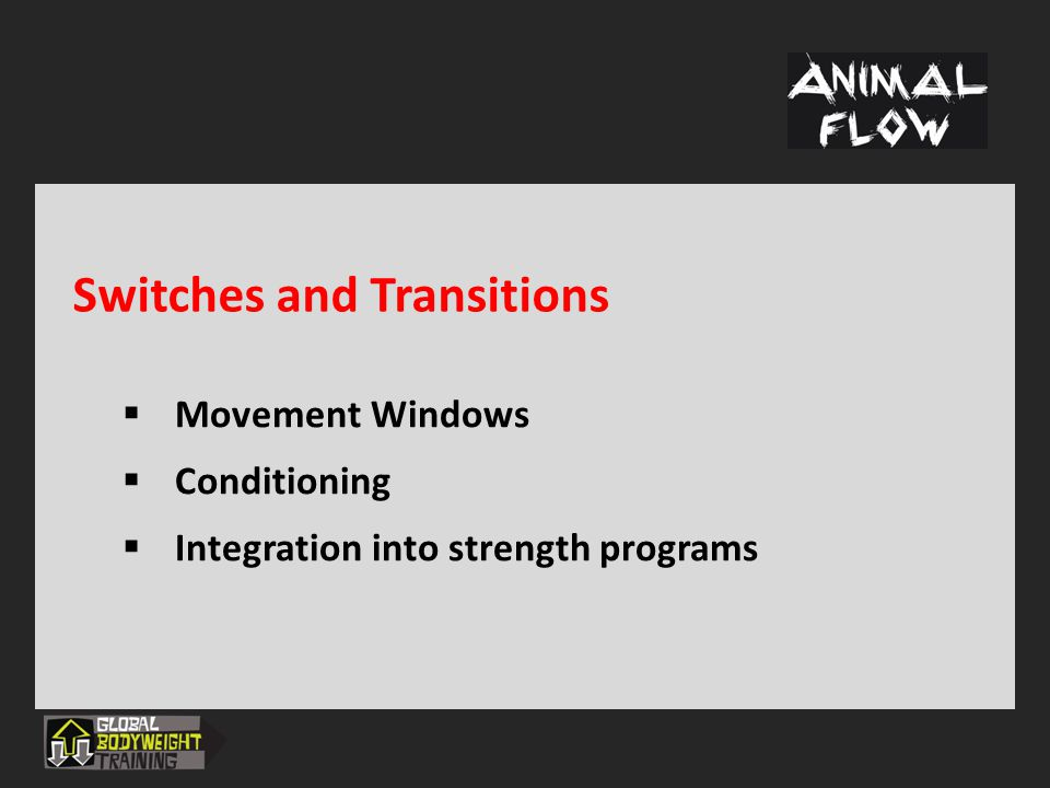 Switches and Transitions  Movement Windows  Conditioning  Integration into strength programs