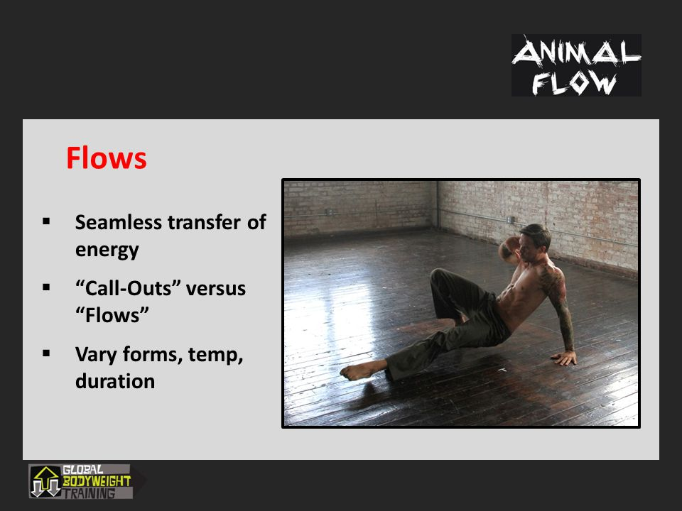 Learn more about Animal Flow: www.GlobalBodyweightTraining.com Email: mike@GlobalBodyweightTraining.com Interested in trying out Animal Flow.