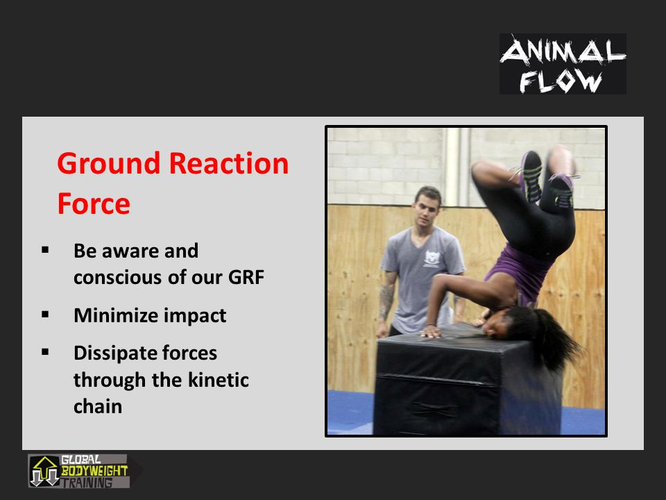 Ground Reaction Force  Be aware and conscious of our GRF  Minimize impact  Dissipate forces through the kinetic chain