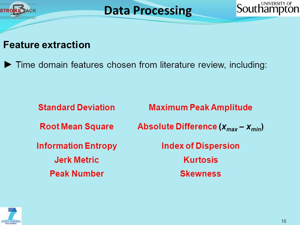 Data Processing 10 Feature extraction ► Time domain features chosen from literature review, including: Standard DeviationMaximum Peak Amplitude Root M