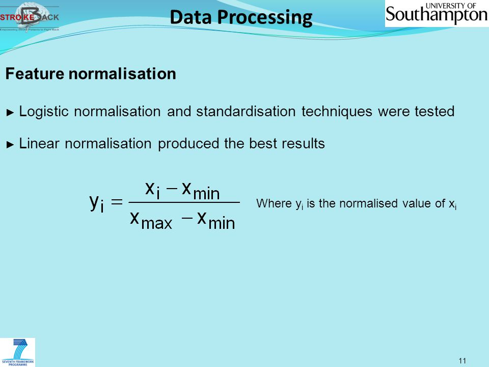 Data Processing 11 Feature normalisation ► Logistic normalisation and standardisation techniques were tested ► Linear normalisation produced the best results Where y i is the normalised value of x i