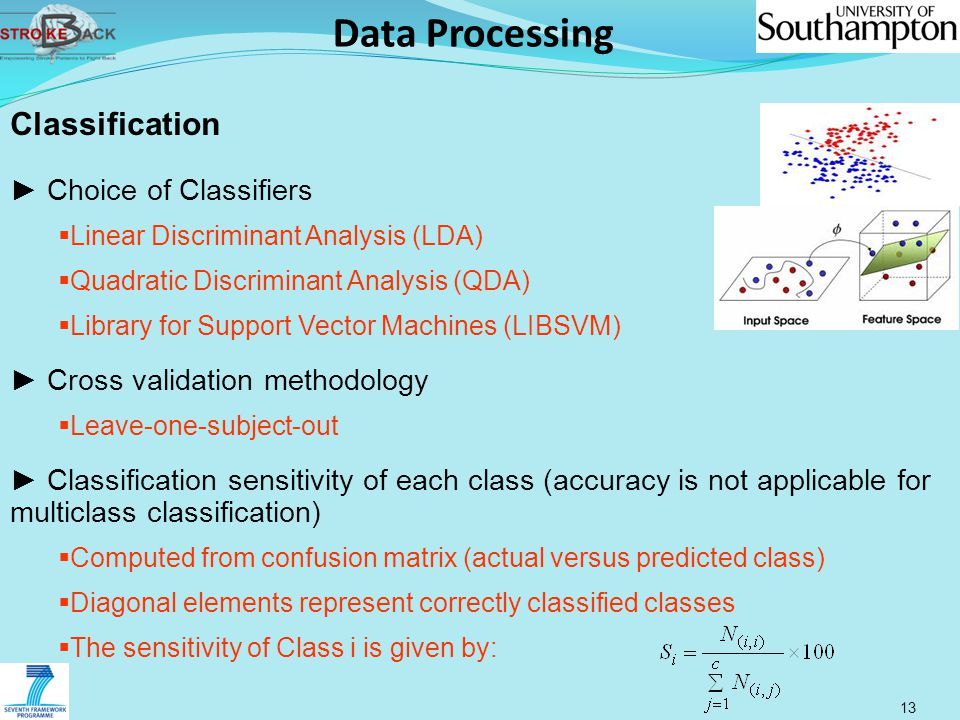 Data Processing 13 Classification ► Choice of Classifiers  Linear Discriminant Analysis (LDA)  Quadratic Discriminant Analysis (QDA)  Library for S