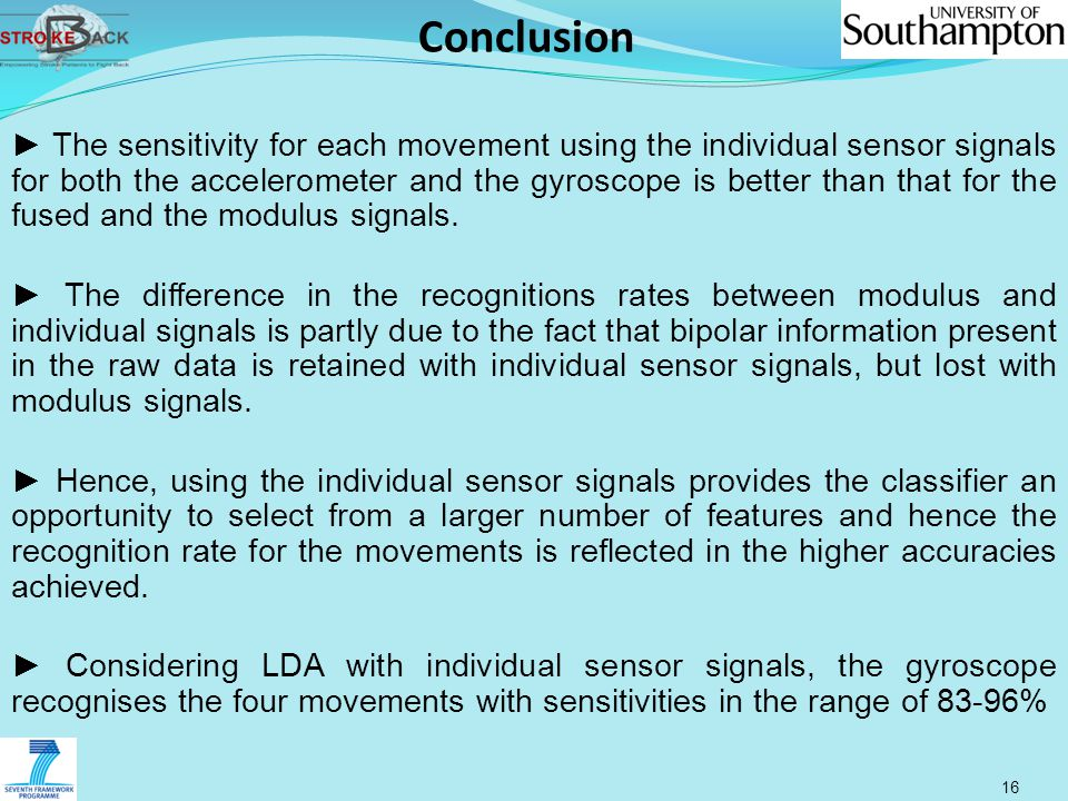 Conclusion 16 ► The sensitivity for each movement using the individual sensor signals for both the accelerometer and the gyroscope is better than that for the fused and the modulus signals.