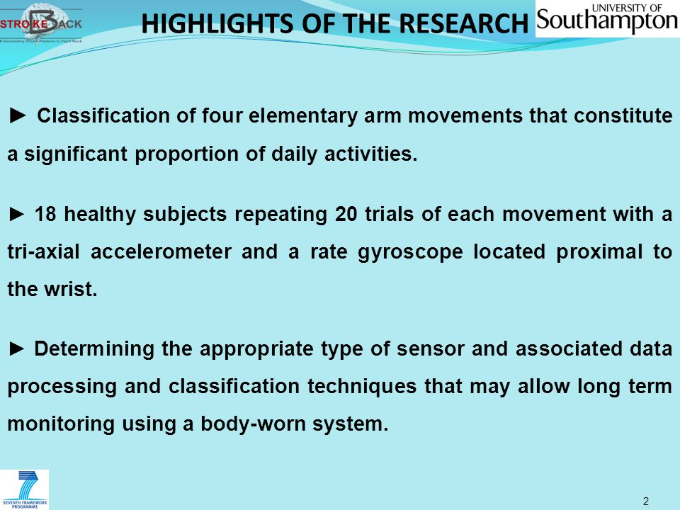 HIGHLIGHTS OF THE RESEARCH 2 ► Classification of four elementary arm movements that constitute a significant proportion of daily activities. ► 18 heal