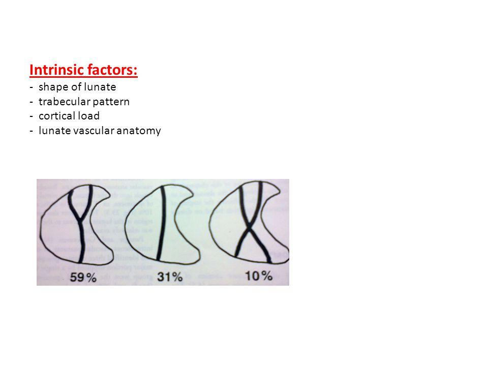 Intrinsic factors: - shape of lunate - trabecular pattern - cortical load - lunate vascular anatomy