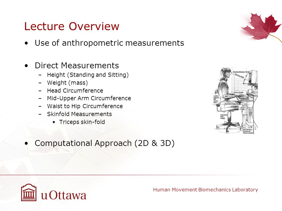 Lecture Overview Use of anthropometric measurements Direct Measurements –Height (Standing and Sitting) –Weight (mass) –Head Circumference –Mid-Upper A