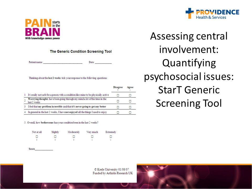 Assessing central involvement: Quantifying psychosocial issues: StarT Generic Screening Tool