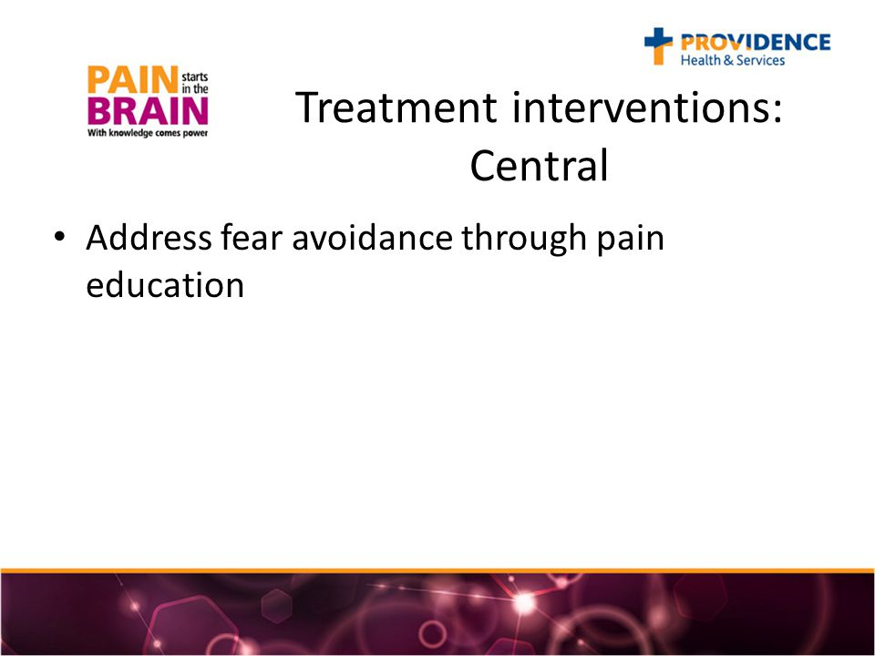 Treatment interventions: Central Address fear avoidance through pain education