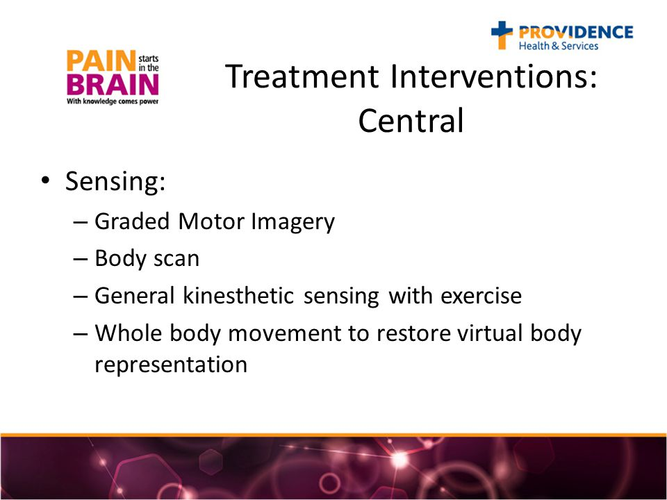 Treatment Interventions: Central Sensing: – Graded Motor Imagery – Body scan – General kinesthetic sensing with exercise – Whole body movement to restore virtual body representation