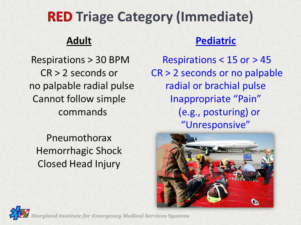 Adult Respirations > 30 BPM CR > 2 seconds or no palpable radial pulse Cannot follow simple commands Pneumothorax Hemorrhagic Shock Closed Head Injury Pediatric Respirations 45 CR > 2 seconds or no palpable radial or brachial pulse Inappropriate Pain (e.g., posturing) or Unresponsive