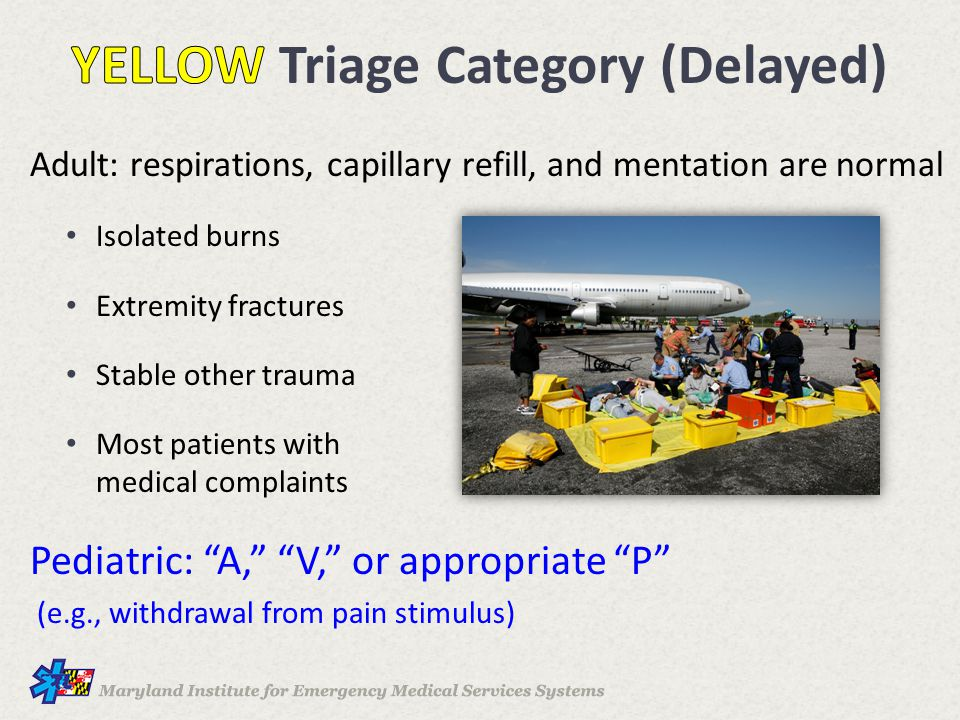 Adult: respirations, capillary refill, and mentation are normal Isolated burns Extremity fractures Stable other trauma Most patients with medical comp