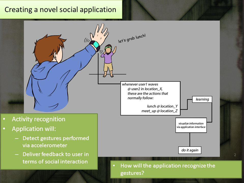 Creating a novel social application Activity recognition Application will: – Detect gestures performed via accelerometer – Deliver feedback to user in terms of social interaction How will the application recognize the gestures.