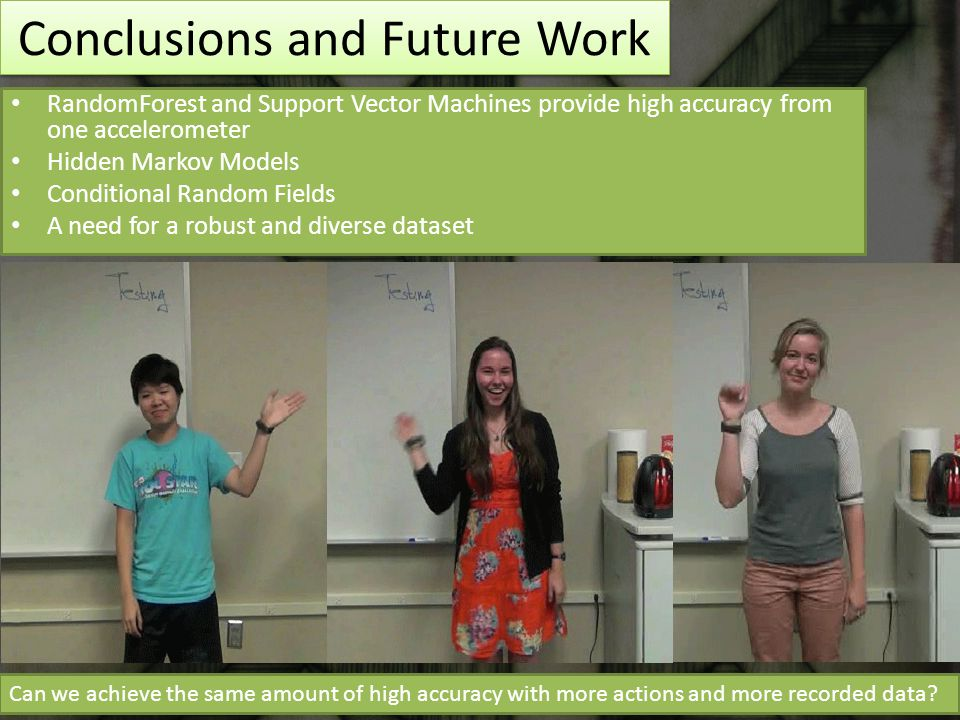 Conclusions and Future Work RandomForest and Support Vector Machines provide high accuracy from one accelerometer Hidden Markov Models Conditional Random Fields A need for a robust and diverse dataset 9 Can we achieve the same amount of high accuracy with more actions and more recorded data