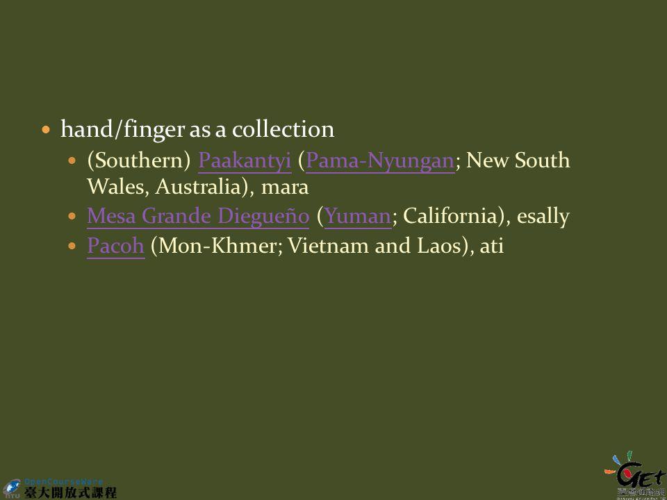 hand/finger as a collection (Southern) Paakantyi (Pama-Nyungan; New South Wales, Australia), maraPaakantyiPama-Nyungan Mesa Grande Diegueño (Yuman; California), esally Mesa Grande DiegueñoYuman Pacoh (Mon-Khmer; Vietnam and Laos), ati Pacoh