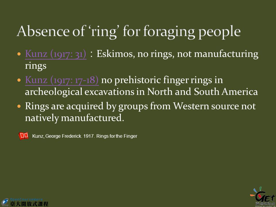 Kunz (1917: 31) : Eskimos, no rings, not manufacturing rings Kunz (1917: 31) Kunz (1917: 17-18) no prehistoric finger rings in archeological excavations in North and South America Kunz (1917: 17-18) Rings are acquired by groups from Western source not natively manufactured.