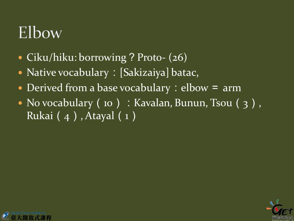 Ciku/hiku: borrowing ? Proto- (26) Native vocabulary : [Sakizaiya] batac, Derived from a base vocabulary : elbow = arm No vocabulary ( 10 ): Kavalan, Bunun, Tsou ( 3 ), Rukai ( 4 ), Atayal ( 1 )