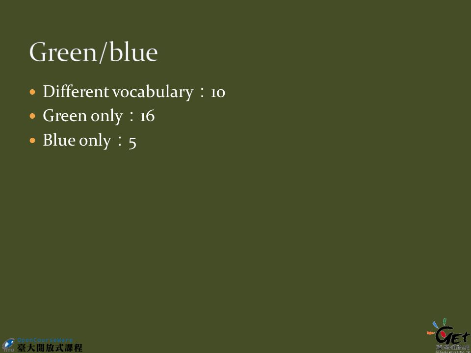Different vocabulary : 10 Green only : 16 Blue only : 5