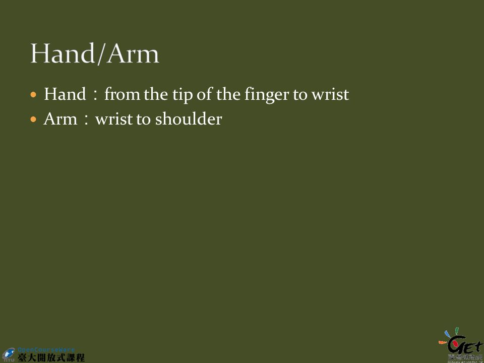 Hand : from the tip of the finger to wrist Arm : wrist to shoulder