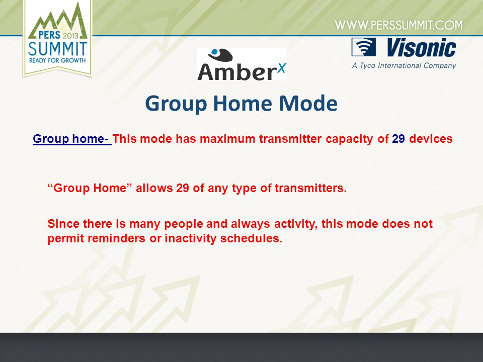 Group Home Mode Group home- This mode has maximum transmitter capacity of 29 devices Group Home allows 29 of any type of transmitters.