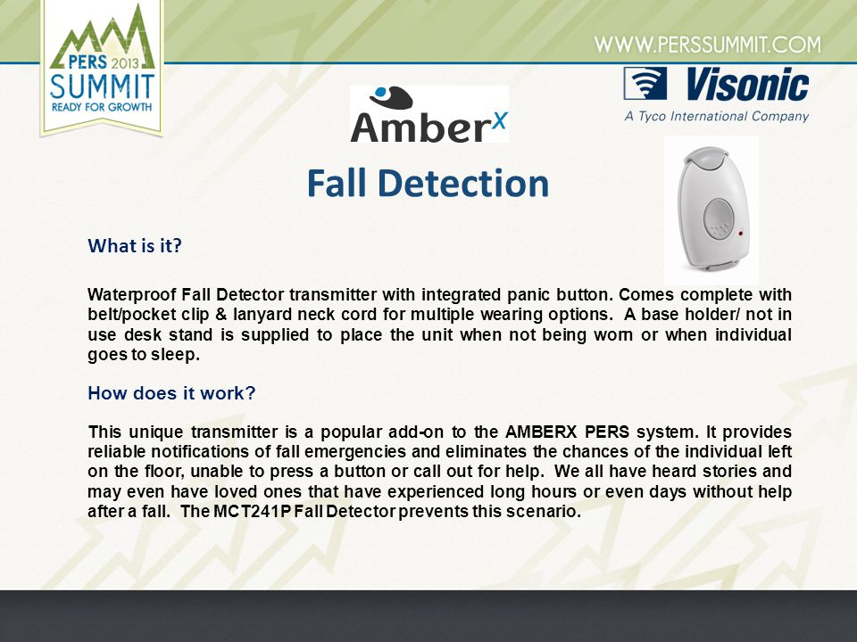 Fall Detection Waterproof Fall Detector transmitter with integrated panic button.