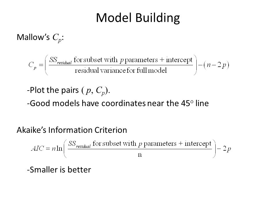 Model Building Mallow's C p : -Plot the pairs ( p, C p ).