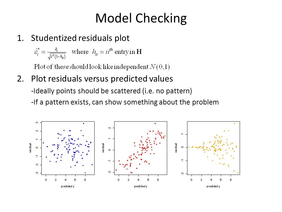 Model Checking 1.Studentized residuals plot 2.Plot residuals versus predicted values -Ideally points should be scattered (i.e.