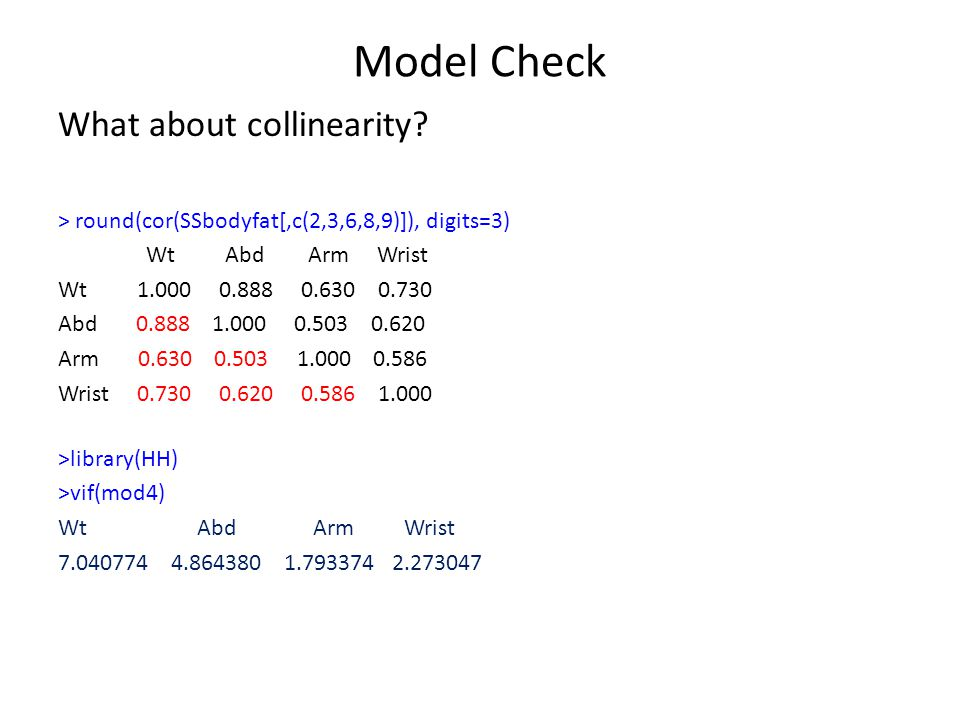 Model Check What about collinearity.