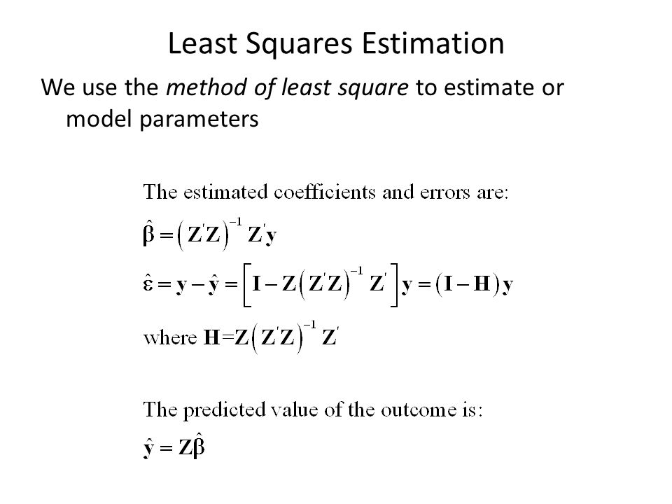 Least Squares Estimation We use the method of least square to estimate or model parameters