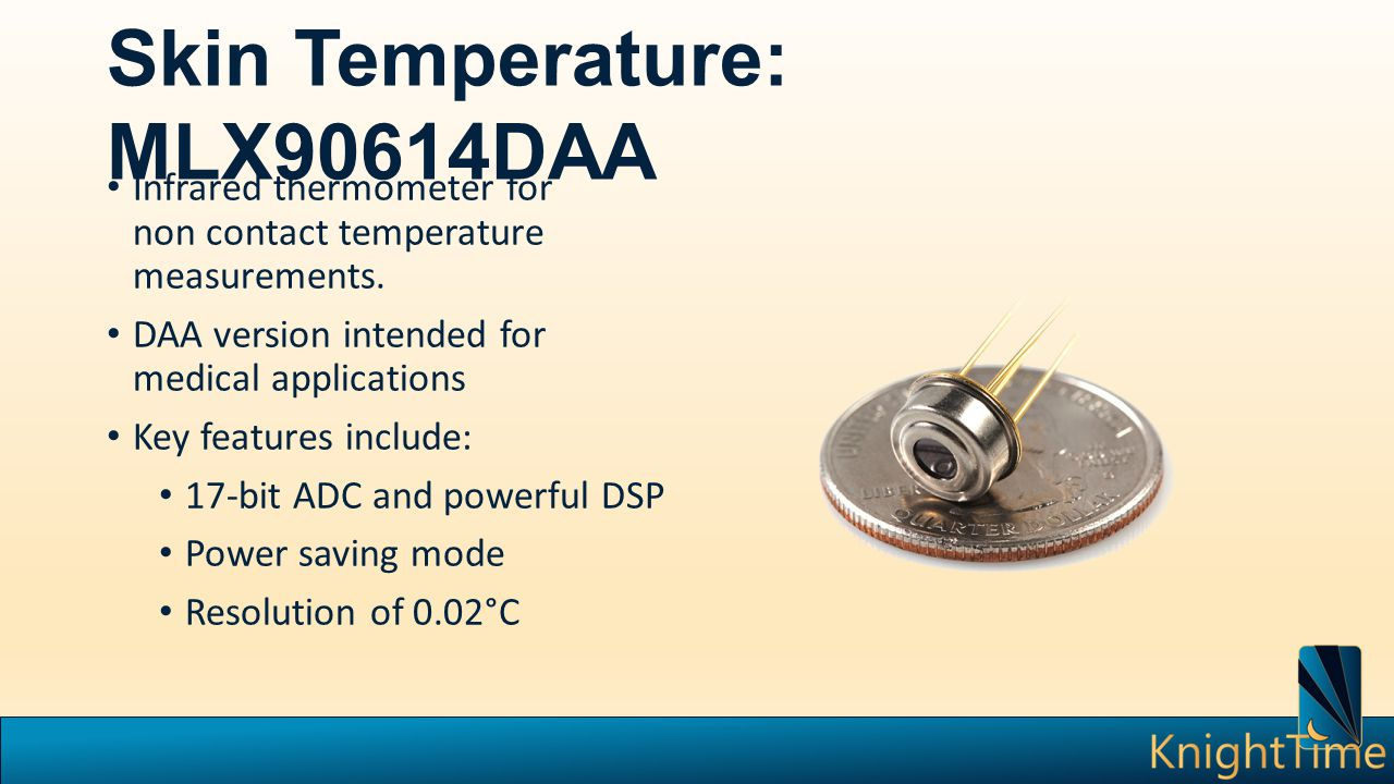 Skin Temperature: MLX90614DAA Infrared thermometer for non contact temperature measurements.