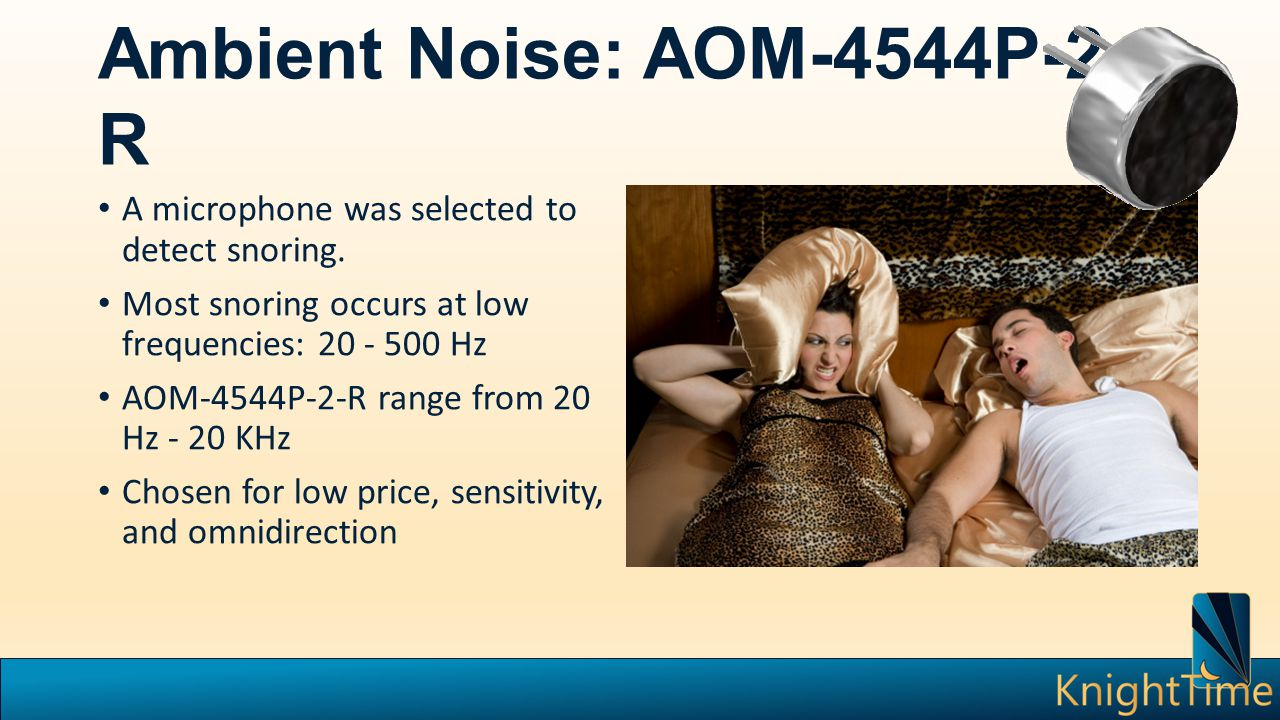 Ambient Noise: AOM-4544P-2- R A microphone was selected to detect snoring. Most snoring occurs at low frequencies: 20 - 500 Hz AOM-4544P-2-R range fro