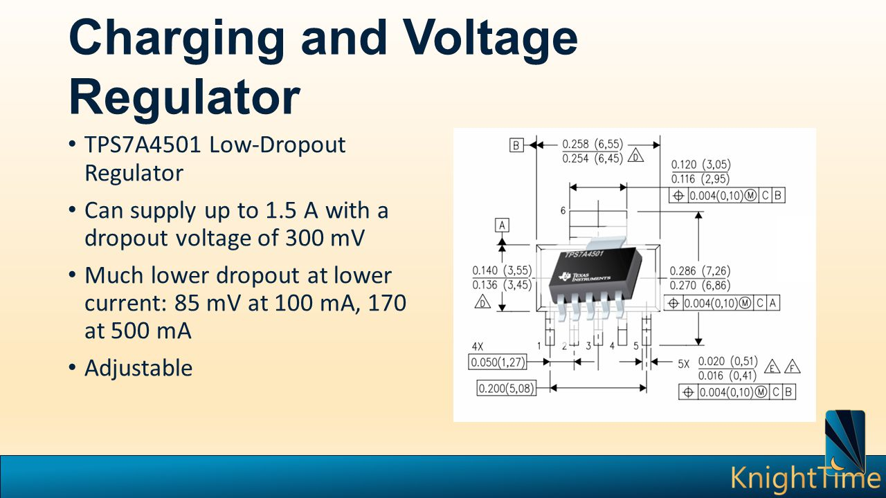 Charging and Voltage Regulator TPS7A4501 Low-Dropout Regulator Can supply up to 1.5 A with a dropout voltage of 300 mV Much lower dropout at lower current: 85 mV at 100 mA, 170 at 500 mA Adjustable