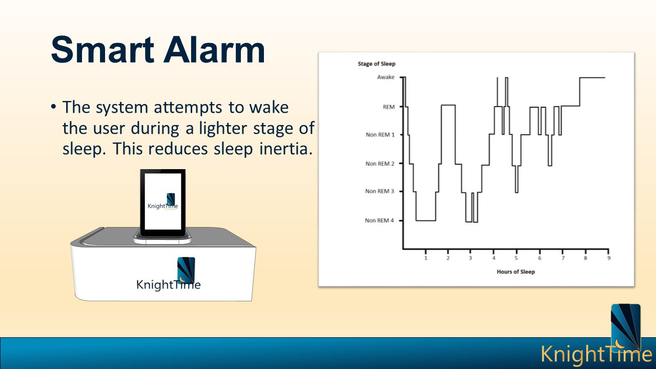 Smart Alarm The system attempts to wake the user during a lighter stage of sleep.