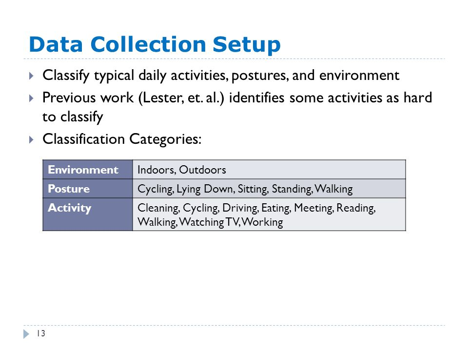 Data Collection Setup 13  Classify typical daily activities, postures, and environment  Previous work (Lester, et. al.) identifies some activities a