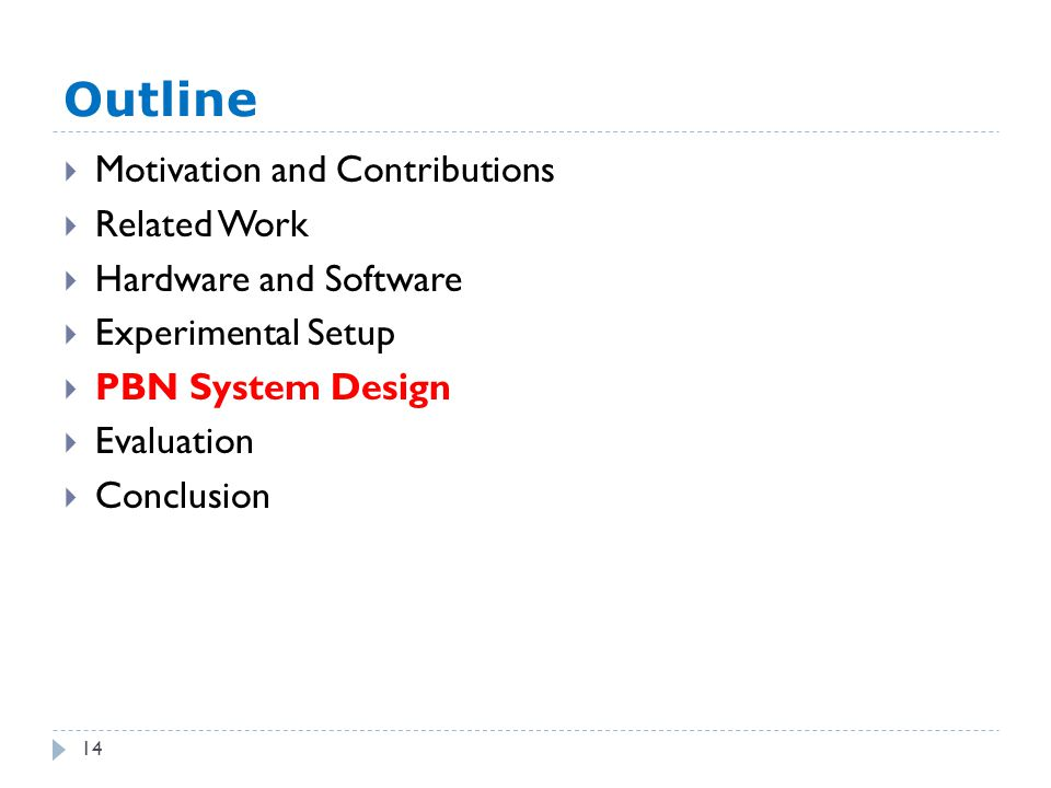 Outline 14  Motivation and Contributions  Related Work  Hardware and Software  Experimental Setup  PBN System Design  Evaluation  Conclusion