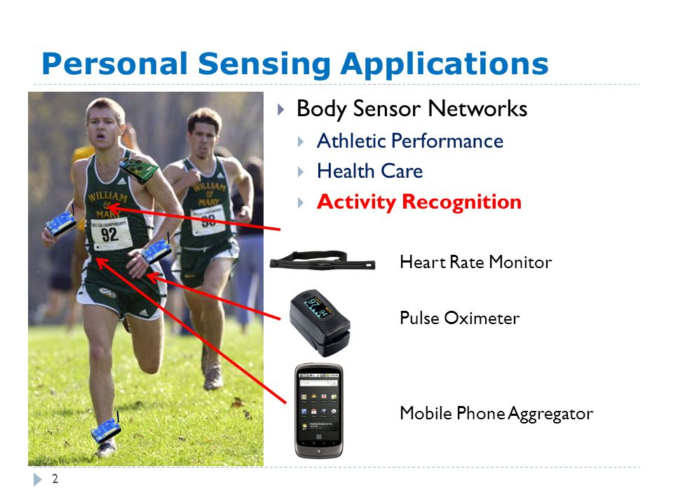 Personal Sensing Applications  Body Sensor Networks  Athletic Performance  Health Care  Activity Recognition Pulse Oximeter Heart Rate Monitor Mobile Phone Aggregator 2