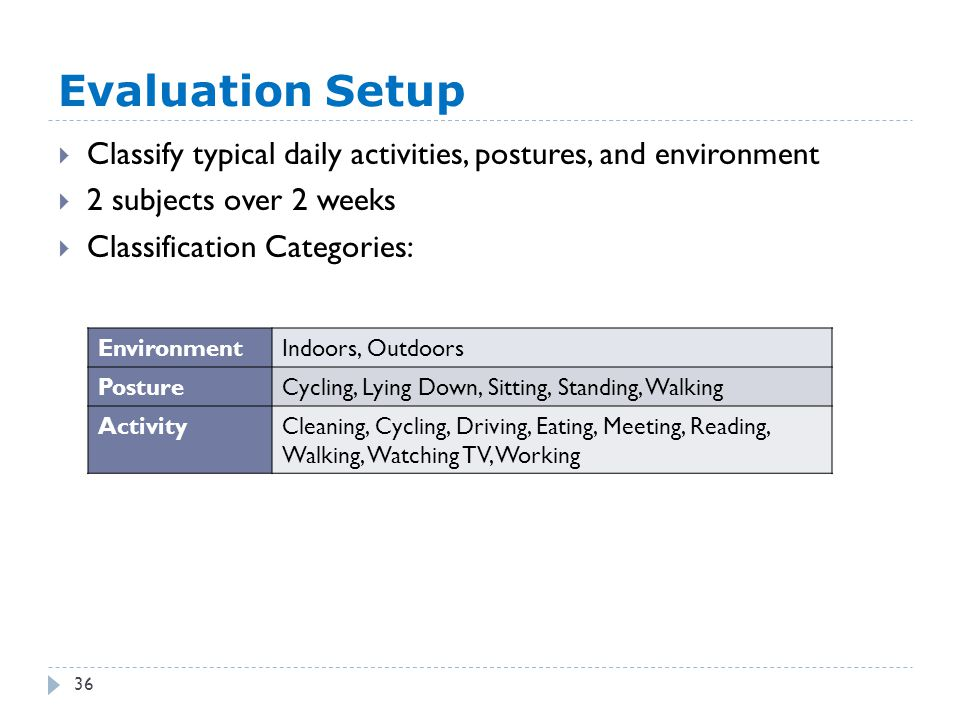 Evaluation Setup 36  Classify typical daily activities, postures, and environment  2 subjects over 2 weeks  Classification Categories: EnvironmentIndoors, Outdoors PostureCycling, Lying Down, Sitting, Standing, Walking ActivityCleaning, Cycling, Driving, Eating, Meeting, Reading, Walking, Watching TV, Working